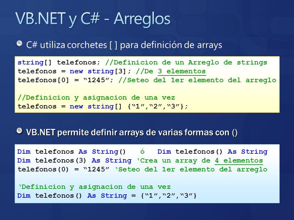VB.NET y C# - ArreglosC# utiliza corchetes [ ] para definición de arrays. string[] telefonos; //Definicion de un Arreglo de strings.